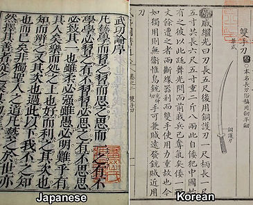 Japanese and Korean ancient martial arts manuals written in Chinese