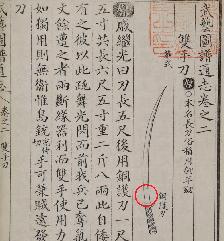 General Qi Jiguang's Long Saber as drawn in Muye Dobo Tongji
