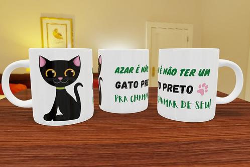 Caneca de Porcelana Personalizada Gato Preto - 325ml