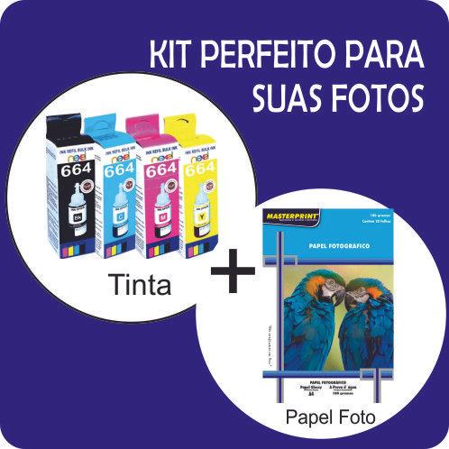 kit Tintas similares p/Epson T664 + Papel Glossy Fotográfico 180g