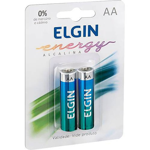 Pilha Alcalina AA Elgin Cartela c/02 unidades