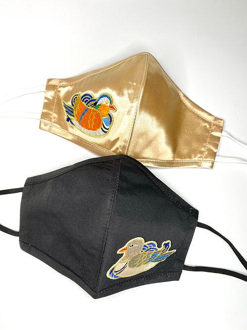 眉開眼笑 Mask #4 - Mandarin Ducks (Champagne Gold + Black)