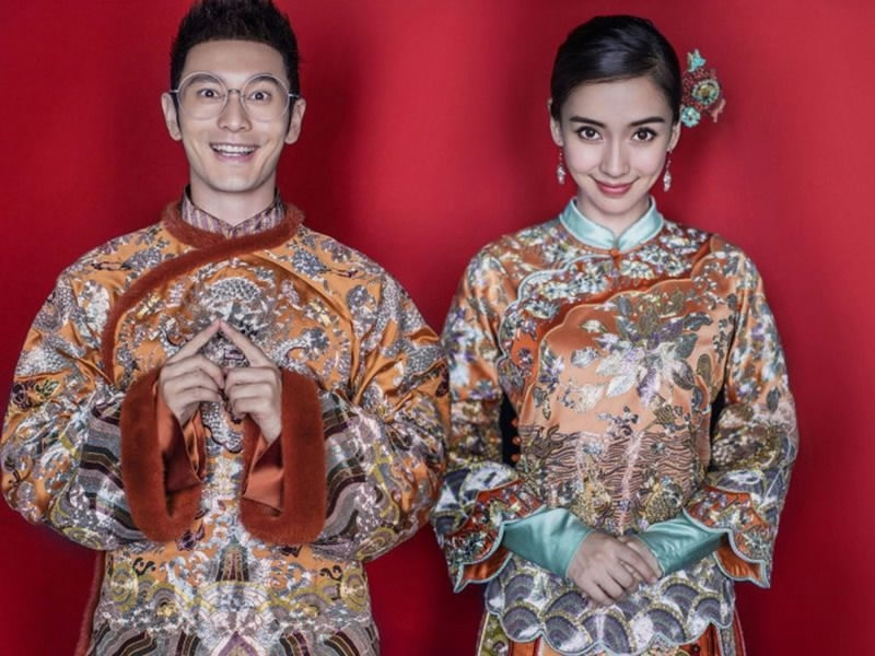 Chinese model-actress, Angelababy & Chinese actor, Huang Xiaoming in 2015