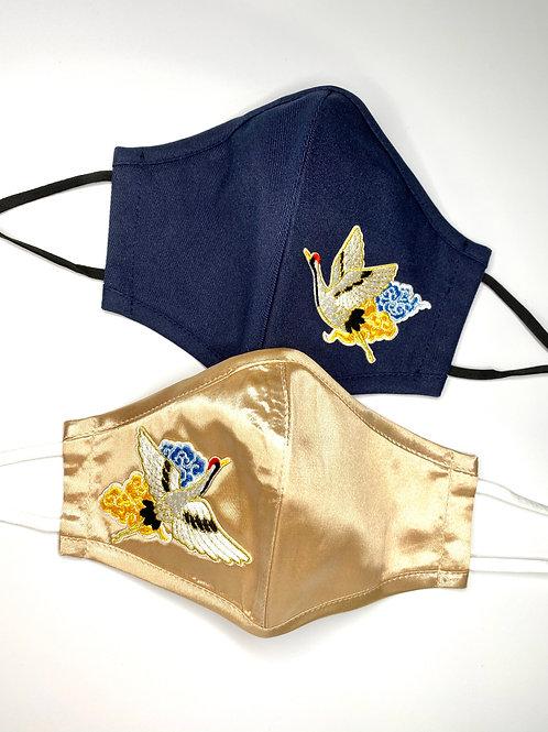 眉開眼笑 Mask #2 - Heavenly Cranes (Champagne Gold + Navy Blue)