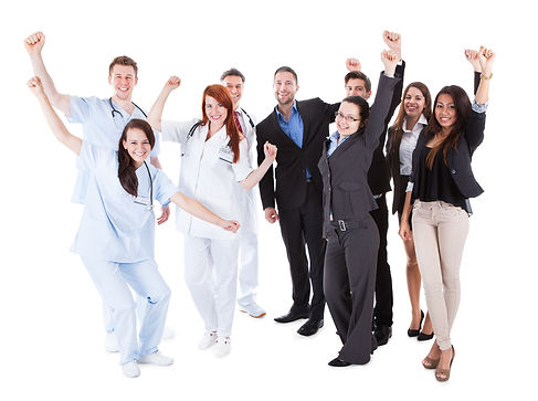 Excited doctors and managers raising arm