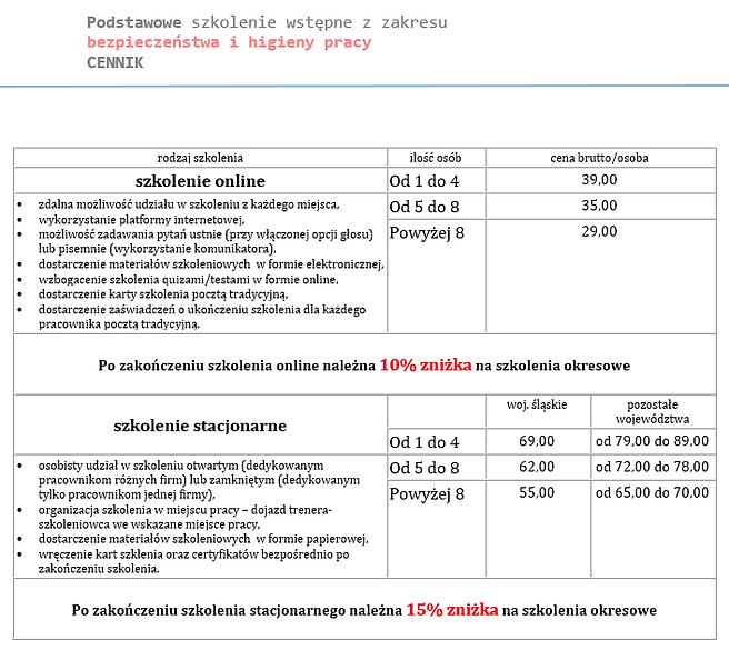 Cennik_szkolenie_wstepne_bhp_żarecka.pn