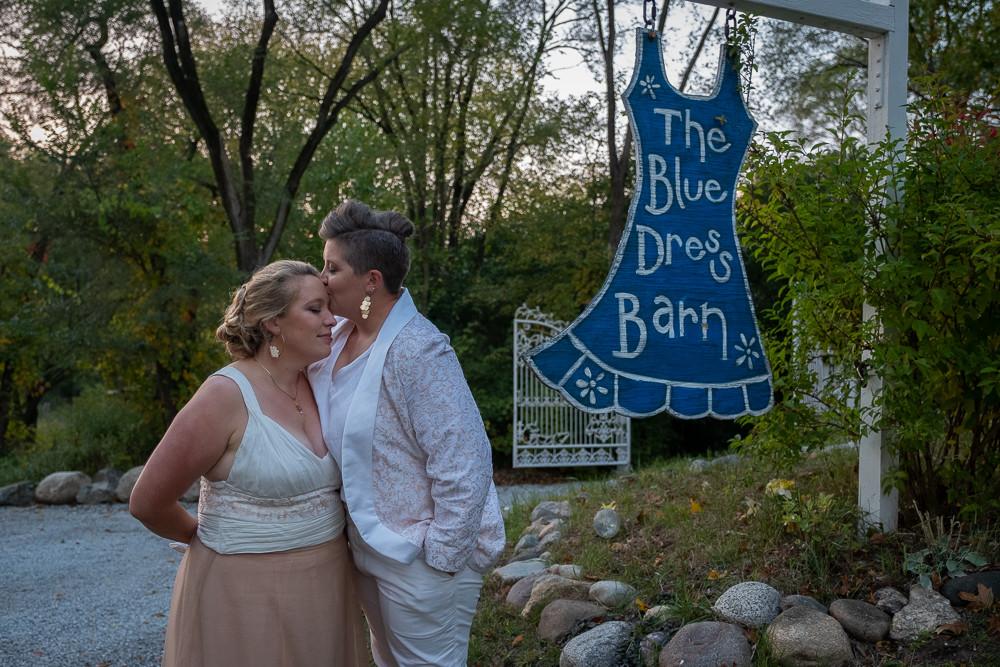 LGBTQ Bridal Couple Portraits at the Blue Dress Barn in Benton Harbor Michigan
