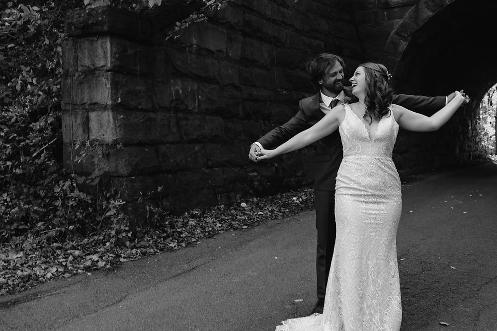 Newlyweds Dance Under a Bridge in Upstate New York