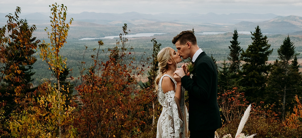 A couple elopes in the Adirondacks with views of Lake Placid