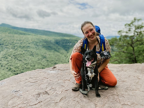 Me and my dog Arlo hiking in the Catskil