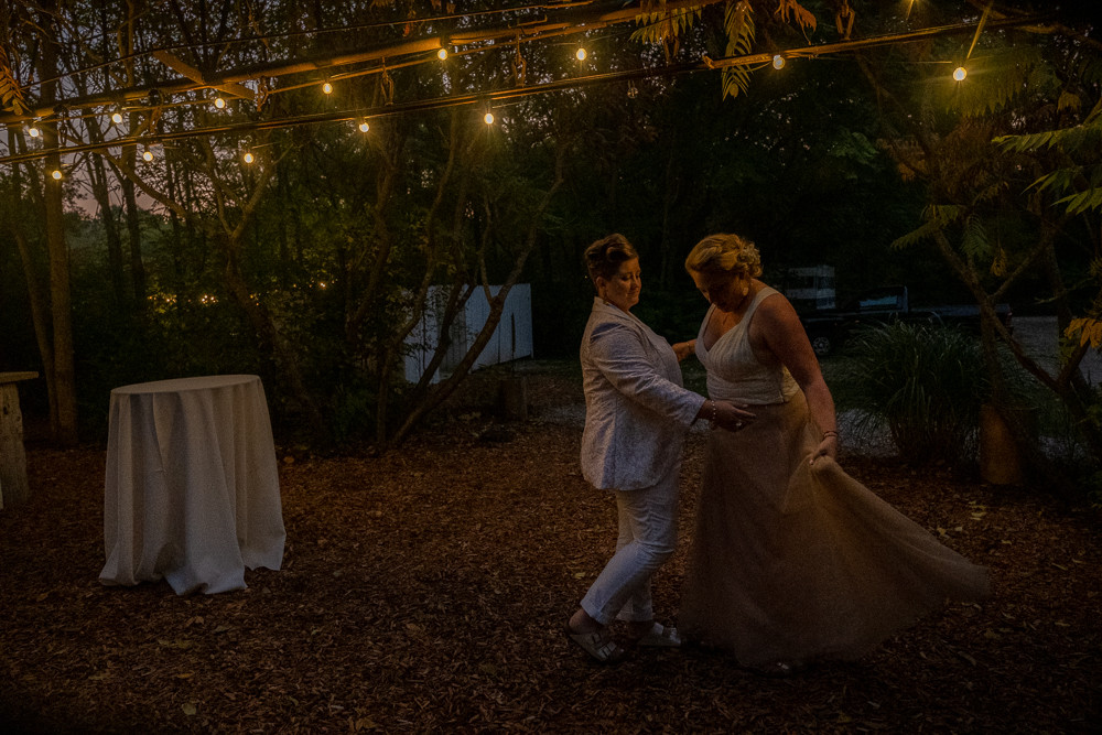 LGBTQ Brides share a private first dance at the Blue Dress Barn in Benton Harbor Michigan