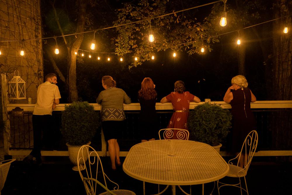 Guests at an intimate LGBTQ wedding at the Blue Dress Barn in Benton Harbor Michigan