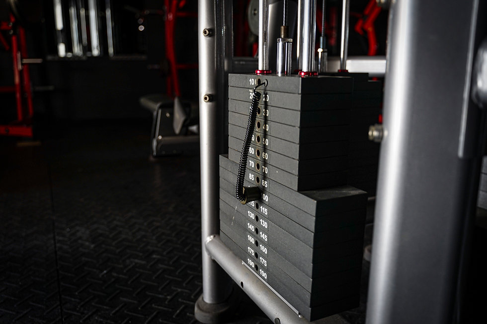 Background image of a stack of weights.