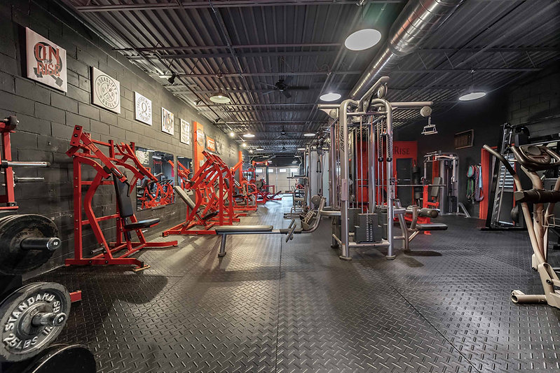 Inside of On The Rise Fitness gym area.