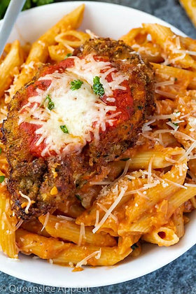 Breaded Chicken Parm   Penne Pasta with Tomato Basil Sauce