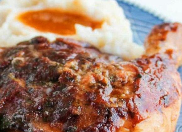 Smokey Barbecue Chicken Leg Supreme   Roasted Garlic Mash   Seasonal Vegetables