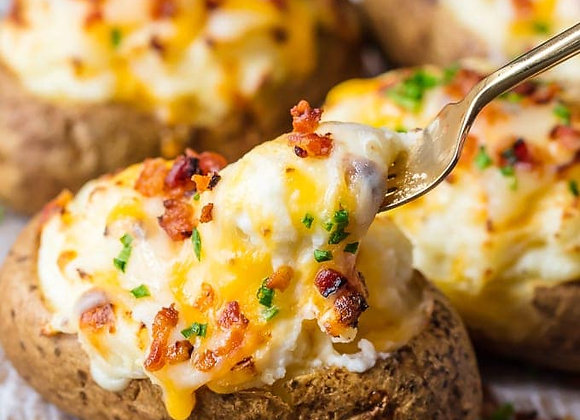 Double Baked Potatoes with Cheddar, Bacon & Chives