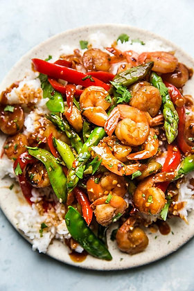 Sweet Chili Shrimp Skewer | Fried Rice | Seasonal vegetables