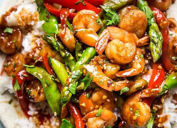 Sweet Chili Shrimp Skewer | Fried Rice | Seasonal vegetables
