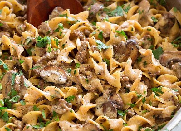 Beef Stroganoff with buttered egg noodles