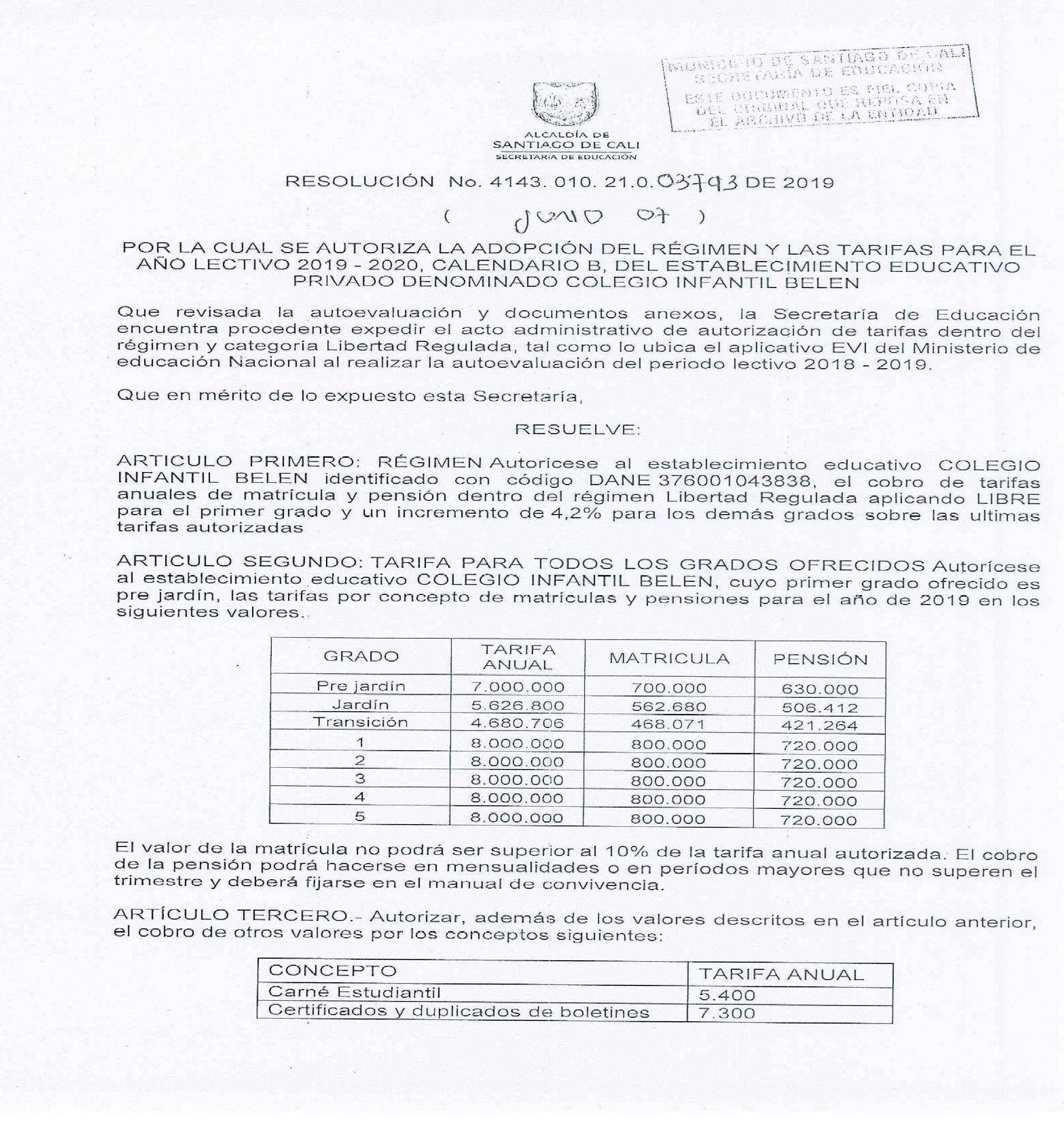 Calendario Belen 2020.Resolucion 2019 2020 Colegiobelen