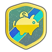 A goal achievement shield, as part of gamifying a popular app