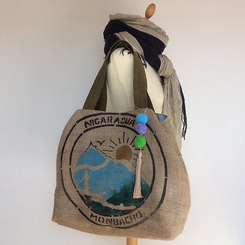 Sac cabas en toile de jute d'un sac de café recyclé. Nicaragua et Etoiles