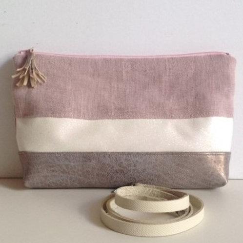 Sac à main pochette Zip. Cuir grainé , paillettes et lin lavé rose.