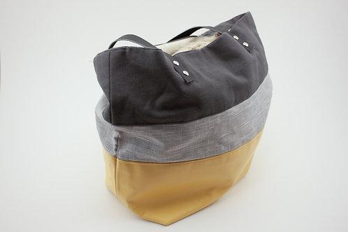 Boudoir cuir jaune, lin enduit gris clair et lin