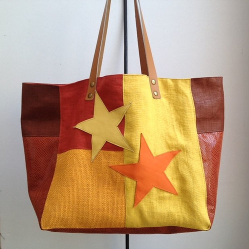 Sac Cabas orange, jaune, corail et rouille