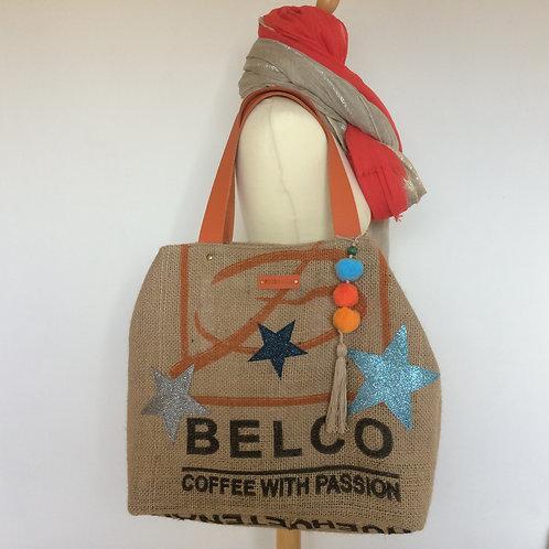Sac cabas en toile de jute d'un sac de café recyclé. Belco et Etoiles