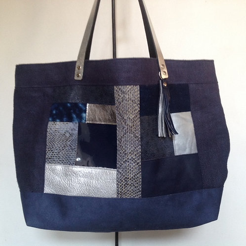 Grand sac cabas patchwork bleu et argent