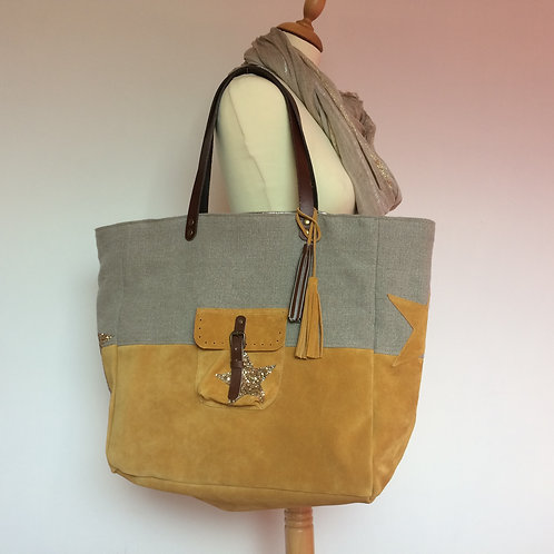 Sac cabas en cuir velours moutarde et lin naturel