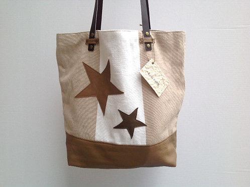 Sac Cabas en cuir taupe et coton avec des étoiles