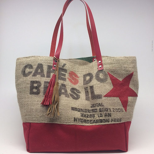 Sac Cabas Barcelona en toile de jute d'un sac de café et toile d'ameublement