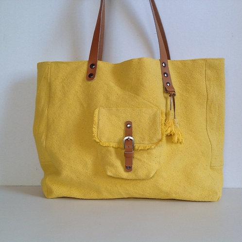 Sac Cabas en coton jaune et cuir camel