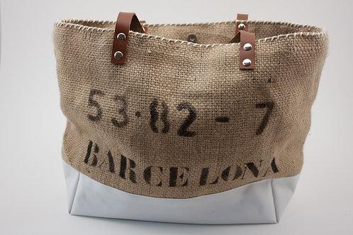 """Sac Cabas modèle """"Barcelona"""" en toile de jute et toile blanche imperméable"""