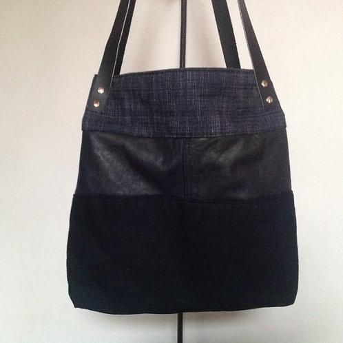 """Sac à main """"Cladel"""" Bleu en cuir, jean, coton et lainage"""