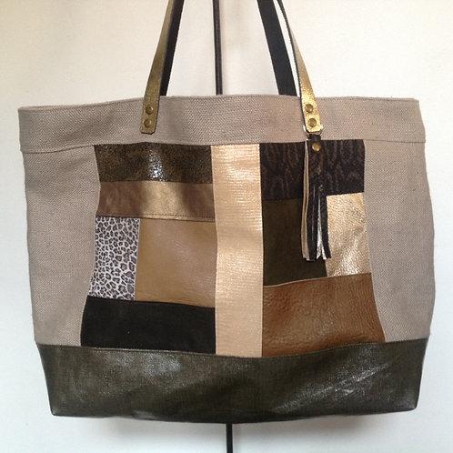 Grand sac Cabas patchwork kaki, taupe et doré