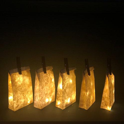 Lot de 5 sacs illuminés en papier Népalais ( taille S)