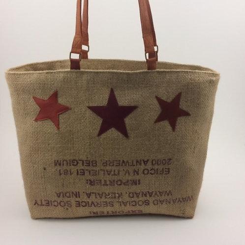 sac cabas toile de jute avec étoiles