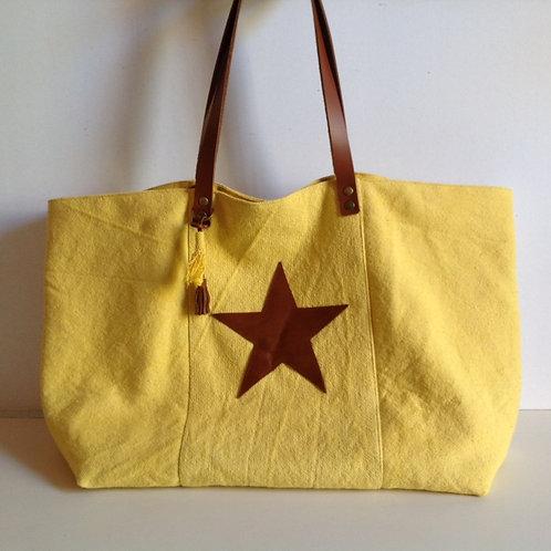 Sac Cabas en coton jaune et cuir marron avec une étoile