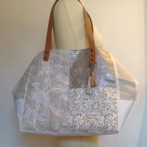 Sac Cabas Blanc et naturel en toile imperméable, coton et lin.