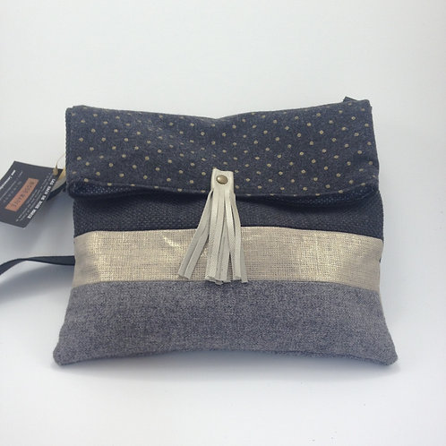 Sac Besace gris et or