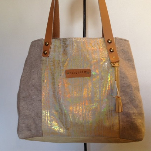 Grand sac à main en cuir velours lamé doré, lin naturel et cuir retourné.