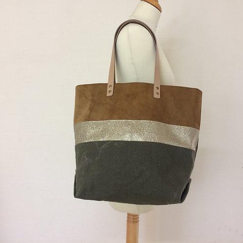 Sac à main en cuir retourné, paillettes et toile militaire kaki stone washed