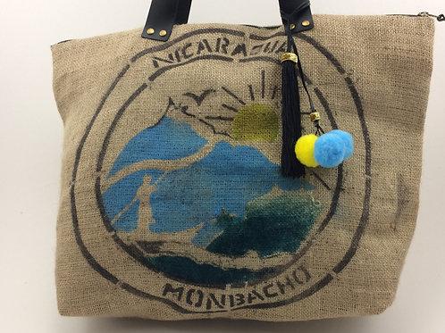 Grand sac Cabas en toile de jute recyclée d'un sac de café du Nicaragua.
