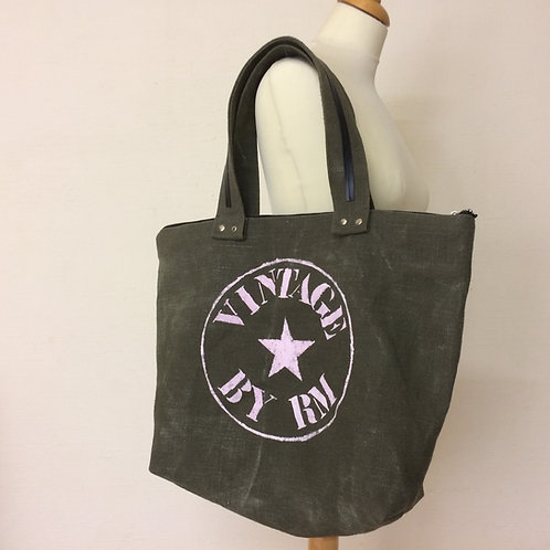 """Sac Cabas en ancienne toile militaire kaki stone washed    """" VINTAGE BY RM"""""""