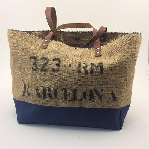 """Sac Cabas modèle """"Barcelona"""" en toile de jute et toile bleue marine imperméable"""