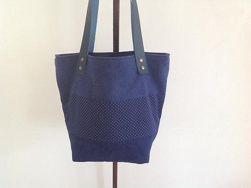 Sac cabas Bleu marine et pois en suèdine, coton, lainage et cuir